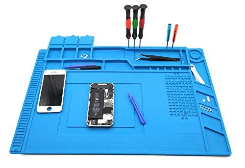 ALLDREI Silicone Repair Mat 17.7 x 11.8 inch (45 x 30cm) Anti-Slip Base for Soldering Anti-Static, Anti-Corrosion, Heat Resistant Soldering Pad for Soldering Electronics, Smartphone, Watches, Jewelry