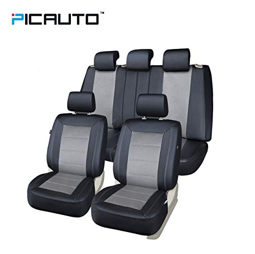 (PIC AUTO Universal Fit Full Set Mesh and Leather Car Seat)