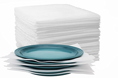 Eco Friendly Cushion Foam Sheets 12'' x 12'' Extra Thick (50 Count) Moving Supplies for Packing Shipping, Protect Glassware, Dishes - Wrap Up Plates, Fragile Items, Furniture from SJ Mint by VOOCO