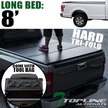 Cab Long Bed Snap (Topline Autopart Solid Tri Fold Hard Truck Bed Tonneau Cover With Tool Bag For 15-18 Ford F150 Regular ( Standard ) / Super ( Extended ) Cab 8 Feet ( 96