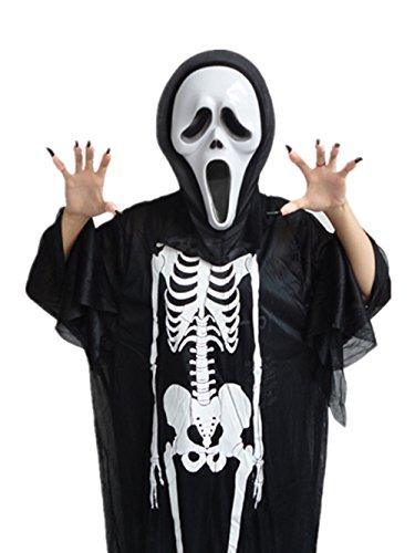 Scream Outfit (GoLoveY Christmas Costume Skeleton Scream Masks Gloves Scary Robe Scream Mask for Women Men Boys Girls Cosplay Skull Ghost Party)