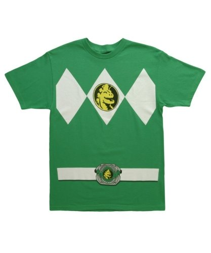 Mighty Morphin Power Rangers Costume T-shirt (Mighty Morphin Power Rangers Men's Costume T-Shirt (Kelly Green, Small))