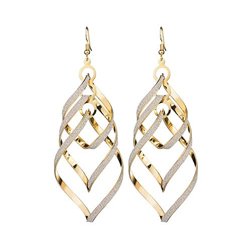 (vmree Stylish Streamlined Spiral Dull Polish Dangle Earrings Indian Bollywood Large Pendant Eardrop Ideal Gift for Women Girls (Gold))