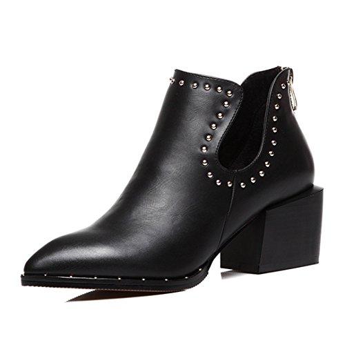 Kvinna Mode Sneakers Blockerar Chunky Häl Läderskor Bak Dragkedja Casual Skor Svarta