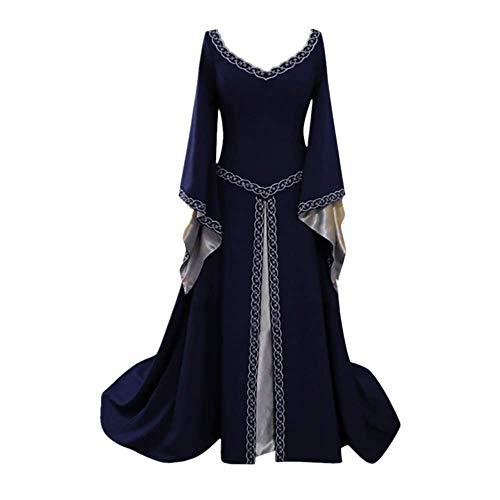 Renaissance Costume Women Medieval Dress Lace Up Vintage Floor Length Cosplay Retro Long Dress Princess Dress Blue -