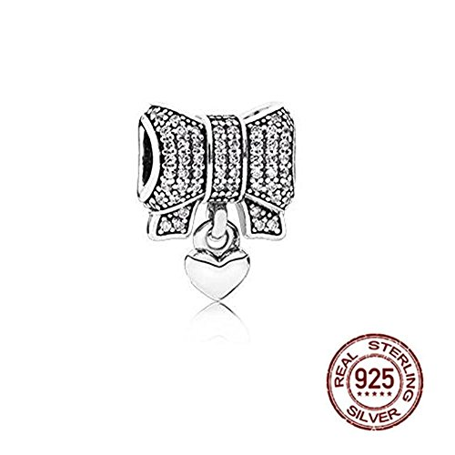 Heart and Bow Charm - Antique 925 Sterling Silver Rosette Beads - Fit on European Charm Bracelets]()