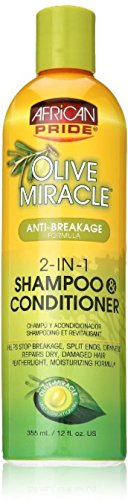 African Pride Olive Miracle 2-in-1 Shampoo & Conditioner 12 oz (Pack of 2)