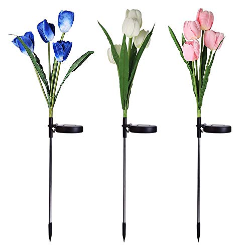 Awinro Outdoor Solar Garden Stake Lights, 3 Pack Solar Power Light with 12 Tulip Flowers, Multi-Color Changing LED Solar Decorative Lights for Garden, Patio, Yard, Lawn (White, Pink, Blue)
