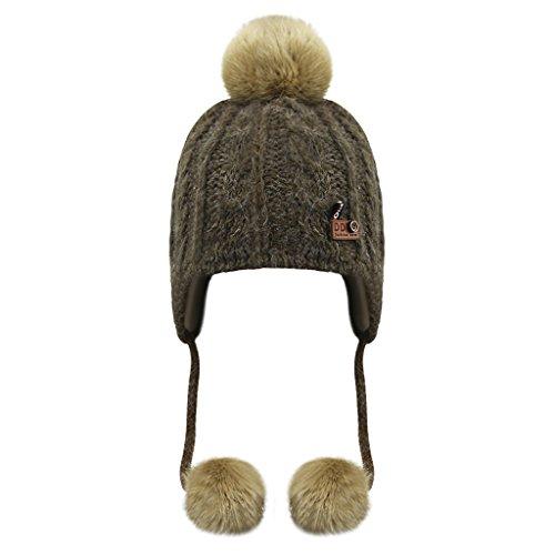Enfants Chapeau Cagoule Hiver Bonnet chaud Tricot en Coton avec Pompon de  Fausse Fourrure Bonnet de f7af1b5a44e