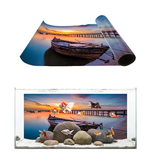Libaoge Aquarium Background, Boat Blue Lake Water Sunset Panoramic Fish Tank Background Decoration PVC Sticker Wallpaper Photo Adhesive Paper Poster Backdrop 36.4