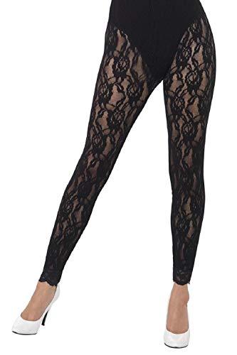 Ladies Black Lace 80s Leggings Footless Tights 1980s Eighties Hen Night Halloween Fancy Dress Costume -