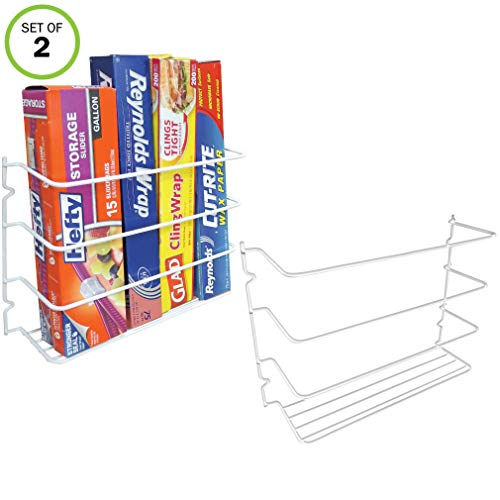 Evelots Wrap Organizer Rack-Kitchen Cabinet Door-Wall-Plastic Coated Iron-Set/2