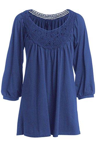 Ellos Women's Plus Size Scoop Neck Crochet Trim Tunic Navy,1X