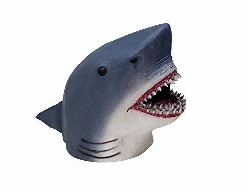 Shark Mask Latex Adult Costume Accessory Gray Fish Fin Jaws Unisex One Size