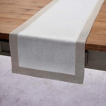 Solino Home Decorative Linen Table Runner - Festive Edge, 14 x 108 Inch Runner Woven with Decorative Zari Border - White with Natural