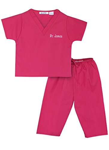 [Personalized Scrubs for Children, Size 4T, Hot Pink] (Doctor Costumes For Toddlers)
