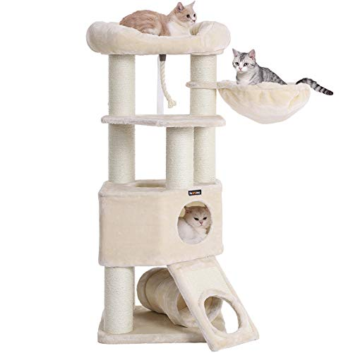 (FEANDREA Cat Tree, Large Cat Tower with Fluffy Plush Perch, Cat Condo with Basket Lounger and Cuddle Cave, Extra Thick Posts Completely Wrapped in White Sisal, Beige UPCT02M)