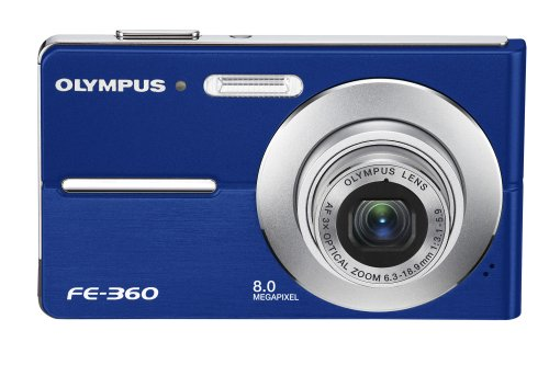 Olympus FE360 8MP Digital Camera with 3x Optical Dual Zoom (Blue) Review