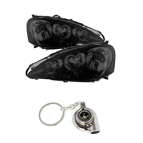 (Acura RSX OEM Style headlights With Black Housing Smoked+ Free Gift Key Chain Spinning Turbo Bearing)