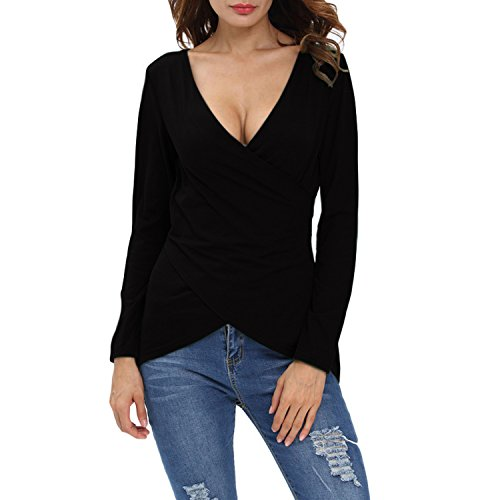 (Tulucky Women's Deep V Neck Tee Shirts Long Sleeve Cute Unique Cross Wrap Tops (XL, Black))