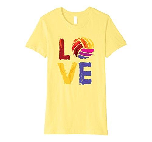Womens Love Volleyball Shirt Medium Lemon (Sleeve Short Volleyball T-shirt)