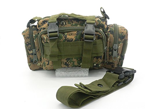 Durable 600D Waterproof Fablic Utility 3P Military Tactical Duffle Waist Bags (Woodland Digital (Digital Woodland Camo Design)