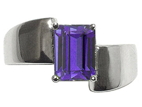 Tommaso Design Emerald Octagon Cut 8x6mm Genuine Iolite Ring 14 kt White Gold Size 9 ()