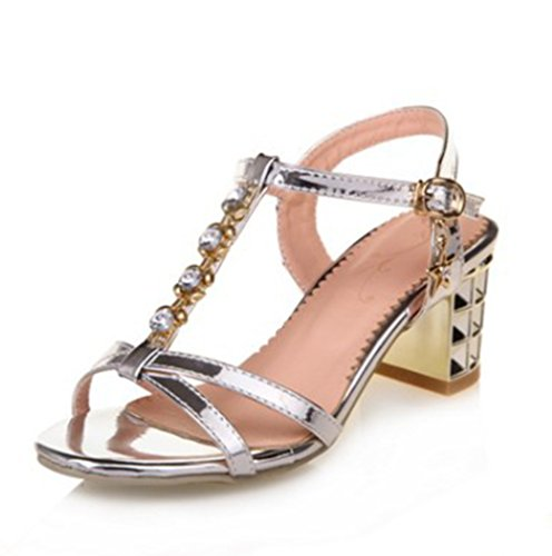 Easemax Womens Sweet Metallic Rhinestones Ankle Buckle T-Strap Slingback Mid Chunky Heel Sandals Silver xrHQcK