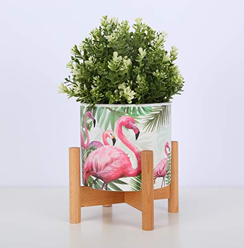 Ceramic Plant Pot Small Planter Flamingo Flower Pot with Wood Plant Stand Plant Pot Holder, 4.3
