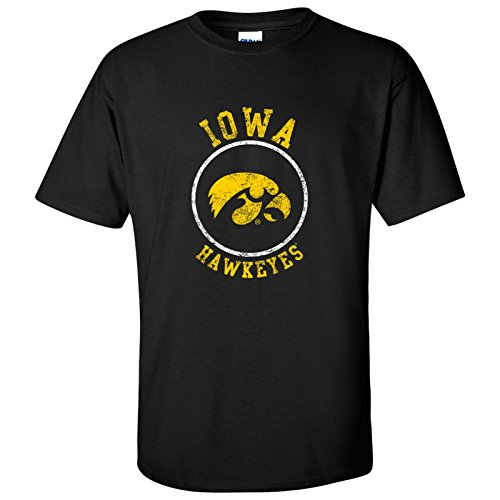 Iowa Hawkeyes Distressed Circle Logo Mens T-Shirt - Medium - Black