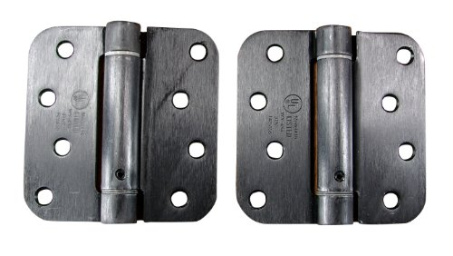 Hinge Outlet Adjustable Spring Hinges, 4 Inch with 5/8 Inch Radius in Oil Rubbed Bronze, Self Closing Hinges, Door Closing Hinges, 2 Pack