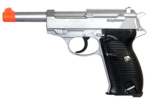 UKARMS 250 FPS Heavy Metal Walter P38 Spring Powered Airsoft Pistol - SILVER