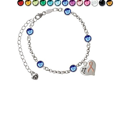 Small Heart with Pink Ribbon ''The Cure'' Custom Crystal Color Fiona Charm Bracelet