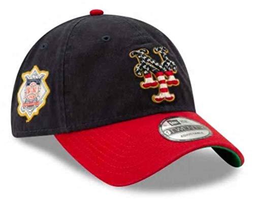 - New Era 2019 MLB New York Mets July 4th Flag Logo Baseball Cap Hat 9Twenty Navy/Red