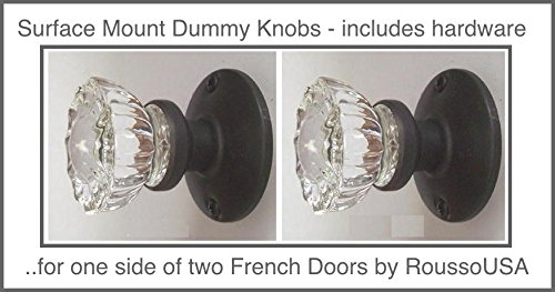 Two Fluted Crystal Glass FRENCH DOOR Dummy Knob sets for both sides of Two doors Antiques