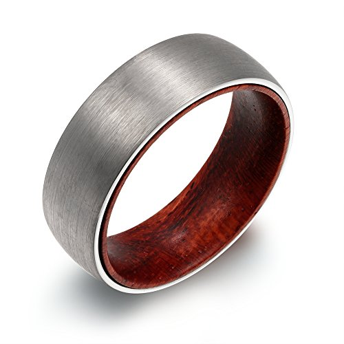 (POYA 8mm Tungsten Ring Matte Finish Domed Wedding Band with Wood Sleeve Interior Comfort Fit (7))