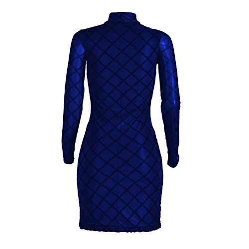 Womens Sexy Haut Col Creux À Manches Longues Hanche Paquet Clubwear Mince Imprimé Flocage Robe Bleue