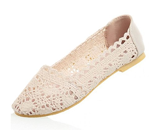 Aisun Women's Comfy Floral Knitting Hollow Out Slip On Loafers Flats Shoes Beige