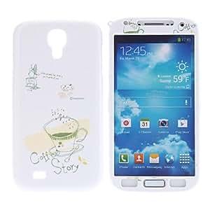 ZCL-Café patrón Front protector duro y de nuevo caso para Samsung i9500 Galaxy S4