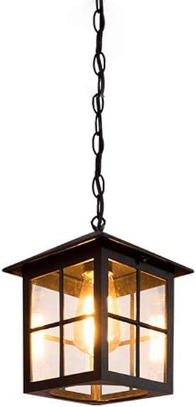 IP44 Exterior Vintage Bronze Lantern Lámpara colgante de techo de aluminio con vidrio transparente Retro Villa Balcón Patio Pasillo Decoración Jardín Exterior Lámpara colgante: Amazon.es: Hogar