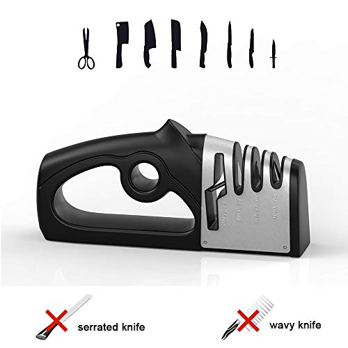 UTAKE Messerschärfer 4 in 1 Abziehstein Wetzstein Profi-Küchenmesser schärfen Haushaltsmesser Formen und Schärfen, Knife Sharpener mit Rutschfestem