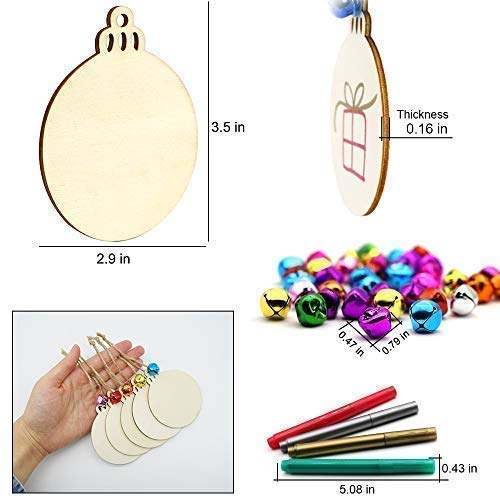 Wooden Christmas Ornaments Unfinished, ZALALOVA Christmas Ornaments Kits 40Pcs Natural Round Wood Slices DIY Crafts Kits 23 Feet Jute Twine 40 Colorful Bells 4 Color Pens Christmas Gifts Decoration