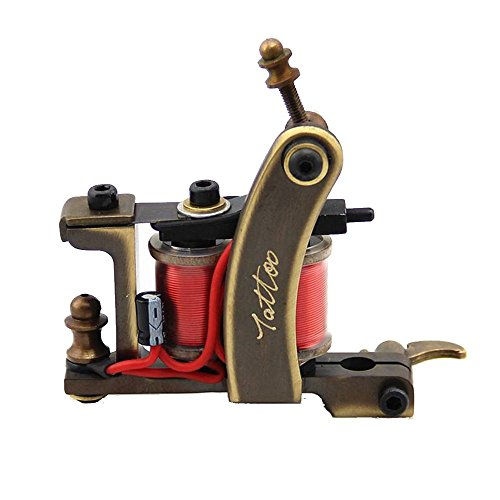 HoriKing Tattoo Supply Tattoo Machine Gun 12 Wrap Red Coils High Quality CNC Carved Copper Liner Personal Care Beauty Body Art Supply (Tattoo Coils 12 Wrap compare prices)