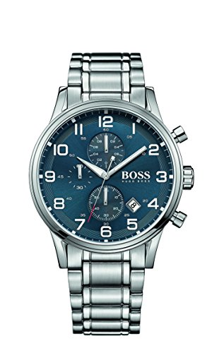 81b00f148ca Amazon.com  Hugo Boss Aeroliner Blue Dial Stainless Steel Chrono Quartz  Male Watch 1513183  HUGO BOSS  Watches