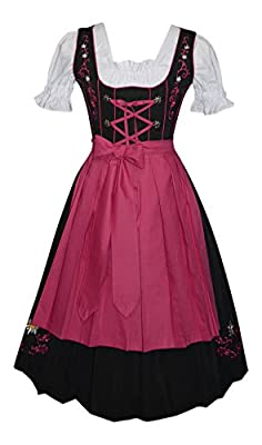 Edelweiss Creek 3-Piece Long German Oktoberfest Dirndl Dress, Black and Pink
