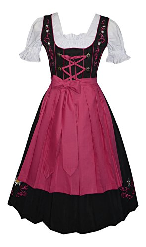 3-Piece Long German Party Oktoberfest Dirndl Dress Black & Pink (4) by Edelweiss Creek