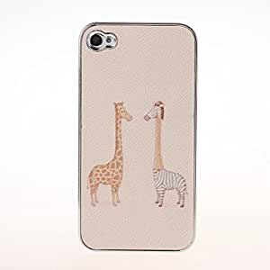 ZL Giraffe and Zebra Pattern Plating Pasting Skin Case for iPhone 4/4S