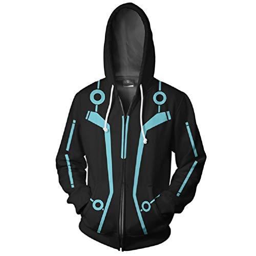 Zp Tron: Legacy Jacket Coats Moive Tron Legacy Sam Flynn Sweatshirt Hoodie Cosplay Costume (Kids-S, Black) -