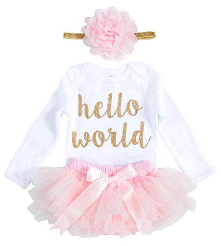 OoSweetCharlotteoO 3pcs Newborn Baby Girl Coming Home Outfit Hello World Bodysuits 3pcs (Newborn, Gold+Pink)
