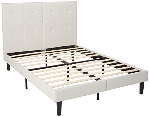 sleeplace 14 inch dura metal faux leather wood folding platform bed frame light. Black Bedroom Furniture Sets. Home Design Ideas